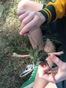 first attempts - tying the hook using casuarina needles
